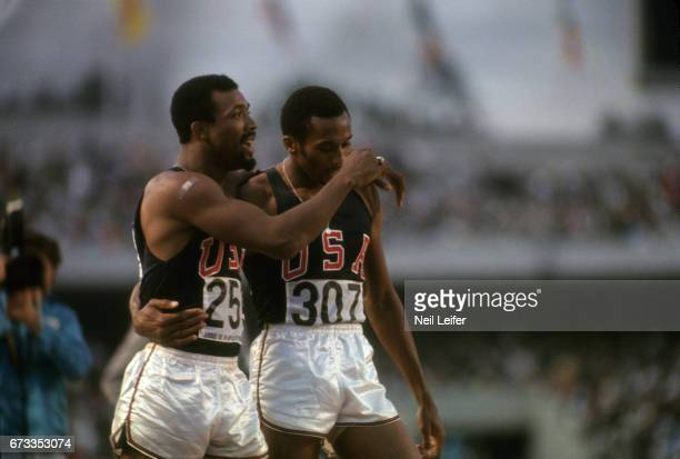 1968 Summer Olympics USA John Carlos and USA Tommie Smith after Men's 200M Final at Estadio Olimpico Smith and Carlos wore black gloves and raised...