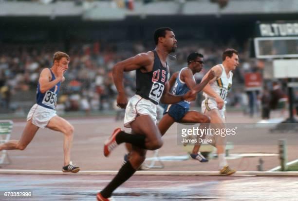 1968 Summer Olympics USA John Carlos in action during Men's 200M heat at Estadio Olimpico Mexico City Mexico CREDIT James Drake
