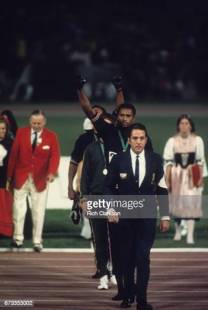 1968 Summer Olympics USA Tommie Smith after medal stand presentation for the Men's 200M at Estadio Olimpico Tommie Smith and John Carlos wore black...