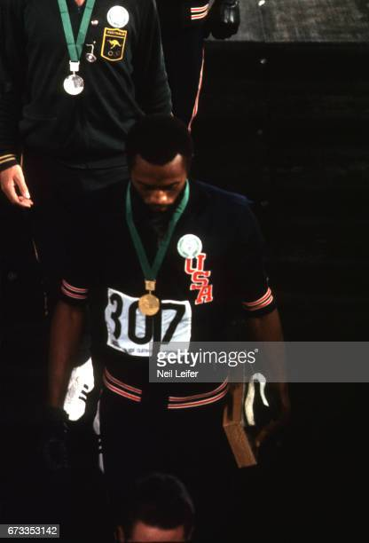 Summer Olympics: USA Tommie Smith after medal stand presentation for the Men's 200M at Estadio Olimpico. Tommie Smith and John Carlos wore black...