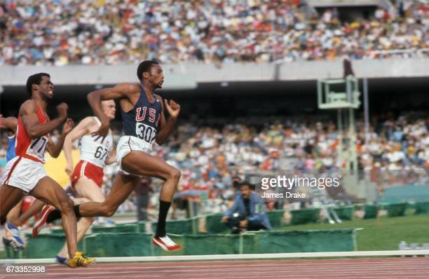 Summer Olympics: USA Tommie Smith in action during Men's 200M heat at Estadio Olimpico. Mexico City, Mexico -- CREDIT: James Drake
