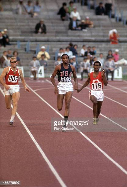 Summer Olympics: USA Tommie Smith in action, leading Men's 200M Final at Estadio Olimpico. Smith won gold with world record time of 19.83. Mexico...