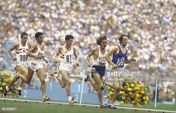 Track Field 1972 Summer Olympics FIN Lasse Viren in action winning 5000M race vs USA Steve Prefontaine TUN Mohamed Gammoudi and GBR Ian Stewart...