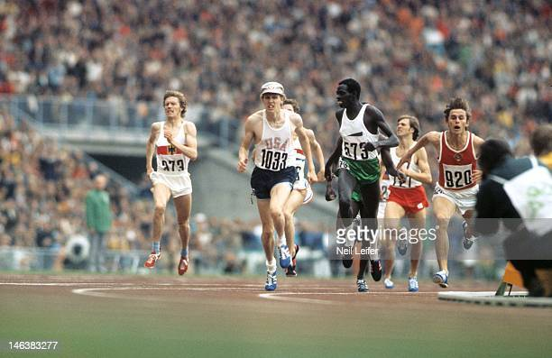1972 Summer Olympics USA David Wottle in action vs Kenya Mike Boit and Soviet Union Yevgeniy Arzhanov during Men's 800M race at Olympiastadion Munich...