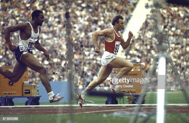 Track Field 1972 Summer Olympics USR Valery Borzov in action winning 100M race vs USA Robert Taylor Munich FRG 8/26/19729/11/1972