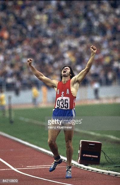 1976 Summer Olympics USA Bruce Jenner victorious after winning 1500M race during Decathlon at Olympic Stadium Montreal Canada 7/17/19768/1/1976...