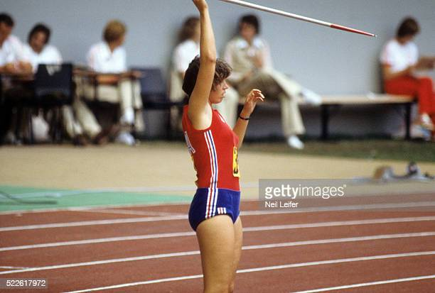 1976 Summer Olympics USA Kate Schmidt in action during Women's Javelin Throw at Olympic Stadium Montreal Canada 7/23/1976 7/27/1976 CREDIT Neil Leifer