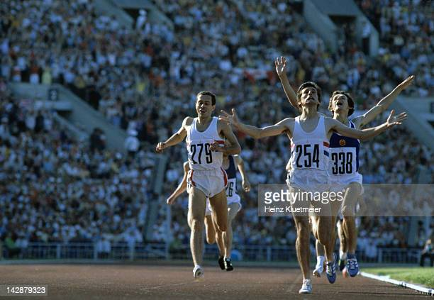 1980 Summer Olympics Great Britain Sebastian Coe in action leading Great Britain Steve Ovett and West Germany Jurgen Straub during Men's 1500M Final...