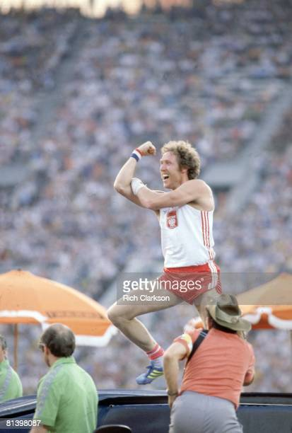 Track Field 1980 Summer Olympics Poland Wladyslaw Kozakiewicz victorious gesturing to fans after winning Pole Vault Final at Central Lenin Stadium...