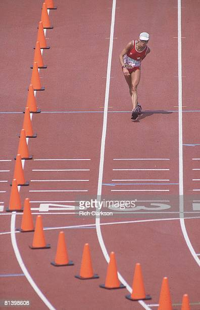 Track & Field: 1984 Summer Olympics, CHE Gabriela Andersen-Schiess in action, walking to finish line with dehydration injury during marathon race,...
