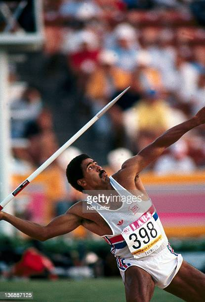 Track Field 1984 Summer Olympics Great Britain Daley Thompson in action throwing javelin at Los Angeles Memorial Coliseum Los Angeles CA 7/29/1984...