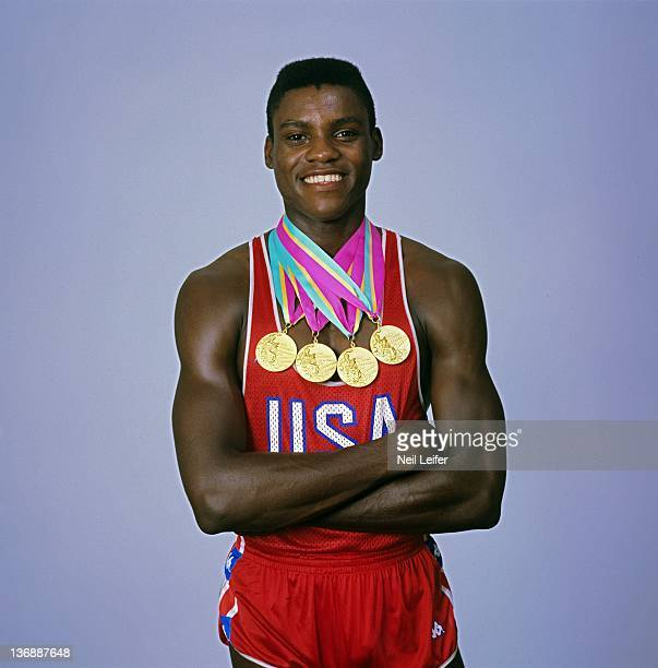 Track Field 1984 Summer Olympics Portrait of USA Carl Lewis with his four gold medals Los Angeles CA 7/30/1984 8/1/1984 CREDIT Neil Leifer