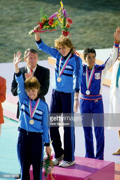 1984 Summer Olympics Romania Doina Melinte USA Kim Gallagher and Romania Fita Lovin victorious with medals on medal stand after Women's 800M Final at...