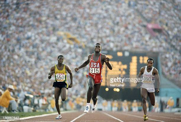Track Field 1984 Summer Olympics USA Carl Lewis in action during Men's 100M Final at Los Angeles Memorial Coliseum Lewis won four gold medals 100M...