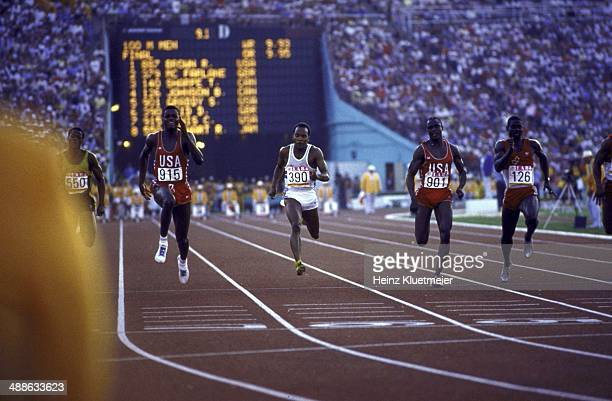 1984 Summer Olympics USA Carl Lewis in action during Men's 100M Final race at Los Angeles Memorial Coliseum Lewis wins gold Los Angeles CA CREDIT...