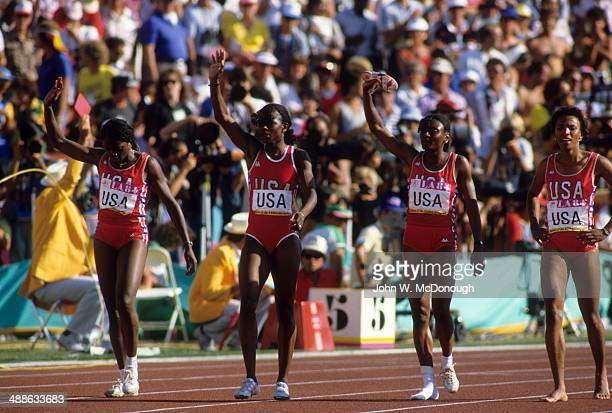 1984 Summer Olympics USA USA Chandra Chesseborough Valerie BrisoHooks Sherri Howard and Lillie Leatherwood after Women's 4X400M race at Los Angeles...