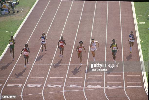 1984 Summer Olympics USA Valerie BriscoHooks in action during Women's 200M Final race at Los Angeles Memorial Coliseum BriscoHooks wins gold Los...