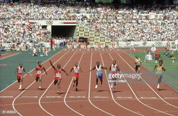 Track Field 1988 Summer Olympics CAN Ben Johnson in action and victorious after winning 100M race and setting world record before being stripped for...