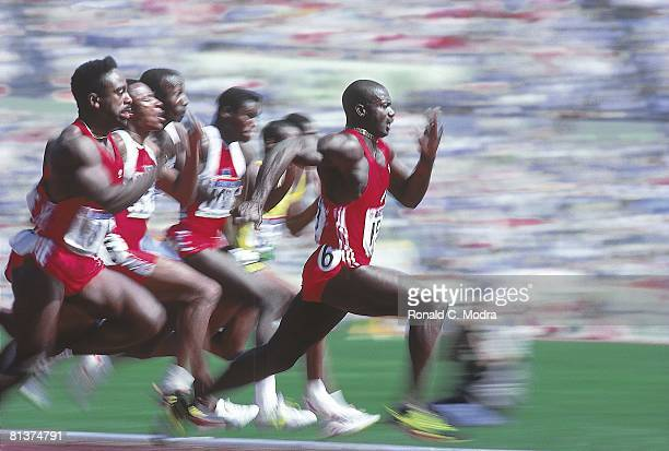 Track Field 1988 Summer Olympics Canada Ben Johnson in action winning 100M Final at Olympic Stadium Johnson stripped of medal for illegal drug use...