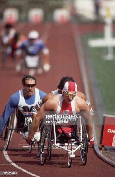 1988 Summer Paralympics USA Criag Blanchette in action leading 1500M Wheelchair race at Olympic Stadium Seoul CREDIT Heinz Kluetmeier