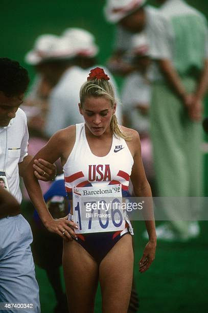 1992 Summer Olympics USA Suzy Favor Hamilton upset after failing to qualify during Women's 1500M Heats at Estadi Olimpic de Montjuic Barcelona Spain...