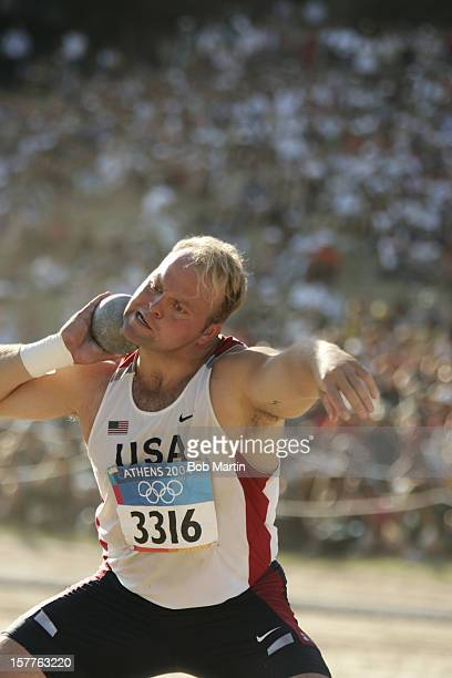 Summer Olympics: USA Adam Nelson in action during Men's Shot Put Finals at Ancient Stadium. Nelson wins silver. Olympia, Greece 8/18/2004 CREDIT: Bob...