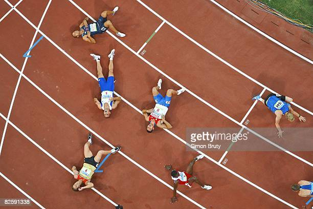 2008 Summer Olympics Aerial view from catwalk of USA Bryan Clay Czech Republic Roman Sabrle Germany Andre Niklaus Russia Aleksey Drozdov Cuba Leonel...