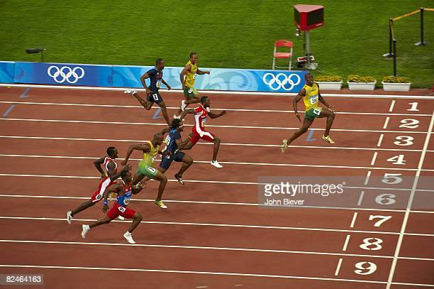Summer Olympics: Aerial view of Jamaica Usain Bolt in action winning Men's 100M Final gold medal with world record time of 9.69 vs Trinidad & Tobago...