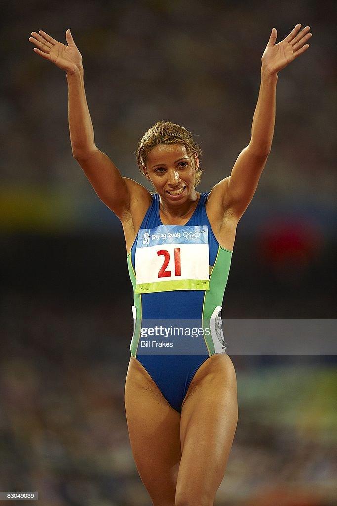 Brazil Lucimara Silva after Women's Heptathlon 800M Heats at