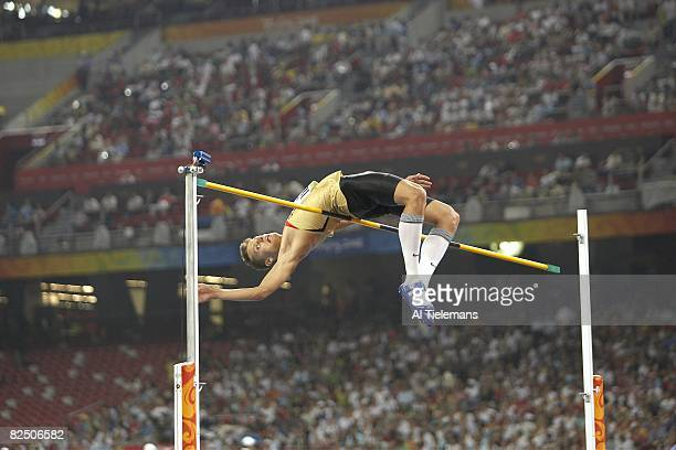 2008 Summer Olympics Germany Raul Roland Spank in action during Men's High Jump Final at National Stadium Beijing China 8/19/2008 CREDIT Al Tielemans