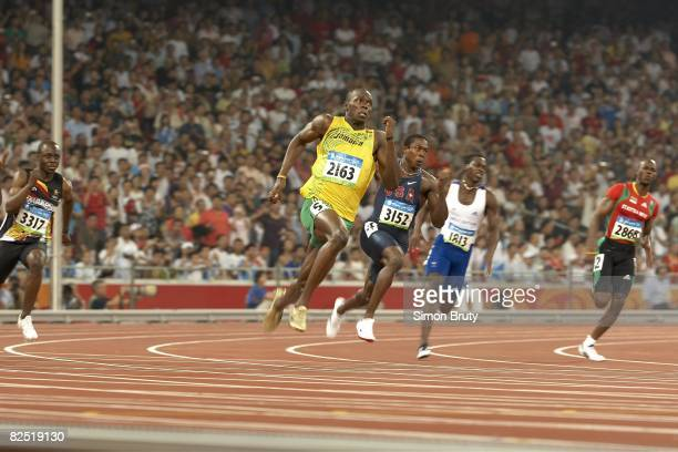 2008 Summer Olympics Jamaica Usain Bolt in action during Men's 200M Final at National Stadium Won gold medal with world record time of 1930 Beijing...