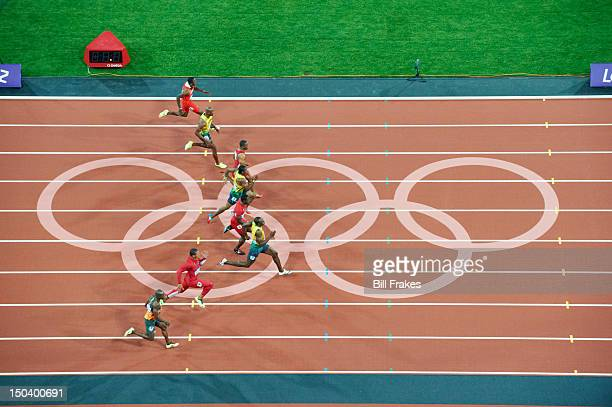 2012 Summer Olympics Aerial view of USA Ryan Bailey Jamaica Usain Bolt USA Justin Gatlin Jamaica Yohan Blake USA Tyson Gay Jamaica Asafa Powell and...