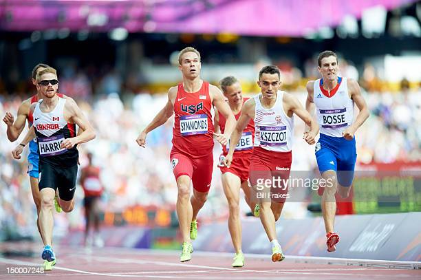 Summer Olympics: Canada Geoffrey Harris, USA Nick Symmonds, Poland Adam Kszczot, and France Pierre-Ambroise Bosse in action during Men's 800M Round 1...