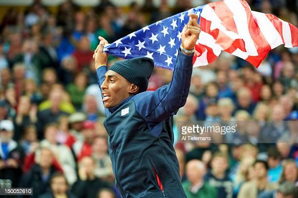 Summer Olympics: Closeup of USA Erik Kynard victorious after winning silver during Men's High Jump Final at Olympic Stadium. London, United Kingdom...