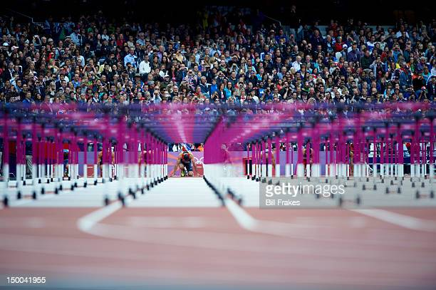 2012 Summer Olympics Germany Matthias Buhler on starting block before Men's 110M Hurdles Heats at Olympic Stadium London United Kingdom 8/7/2012...