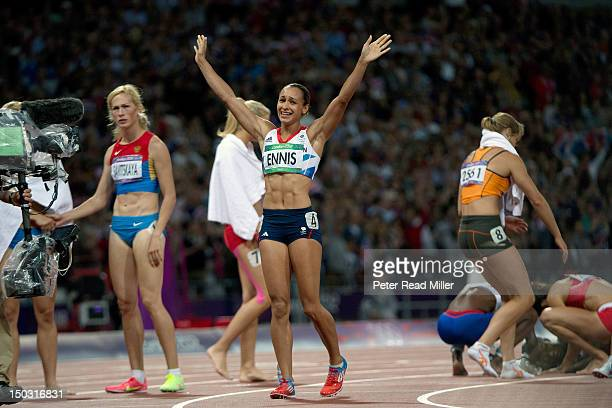 2012 Summer Olympics Great Britain Jessica Ennis victorious after winning Women's 800M and Heptathlon gold at Olympic Stadium London United Kingdom...