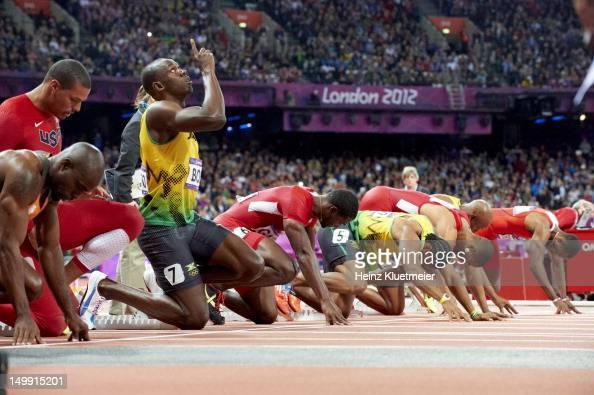 Jamaica Usain Bolt on starting block before start of Men's ...