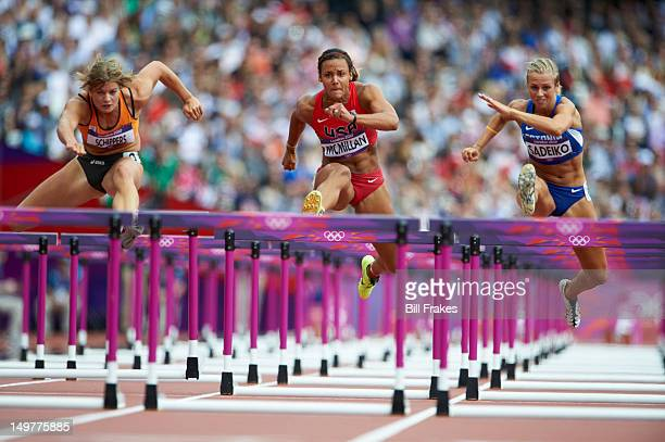 2012 Summer Olympics Netherlands Dafne Schippers USA Chantae McMillan and Estonia Grit Sadeiko in action during 100M Hurdles Heat 4 of Heptathlon at...