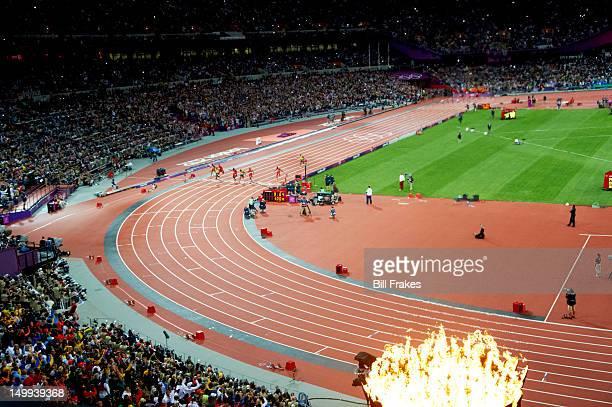 Summer Olympics: Overall scenic view of Netherlands Churandy Martina, USA Ryan Bailey, Jamaica Usain Bolt, USA Justin Gatlin, Jamaica Yohan Blake,...