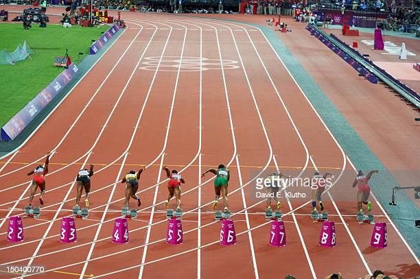 2012 Summer Olympics Rear view of Trinidad Tobago KellyAnn Baptiste Cote d'Ivoire Murielle Ahoure Jamaica Veronica CampbellBrown USA Carmelita Jeter...