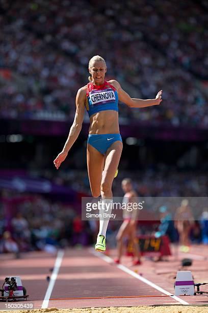 2012 Summer Olympics Russia Tatyana Chernova in action during Long Jump of Women's Heptathlon at Olympic Stadium London United Kingdom 8/4/2012...