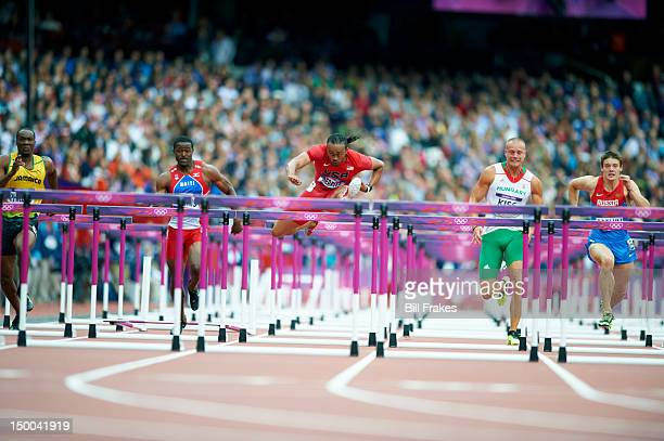 2012 Summer Olympics USA Aries Merritt in action during Men's 110M Hurdles Heats at Olympic Stadium London United Kingdom 8/7/2012 CREDIT Bill Frakes