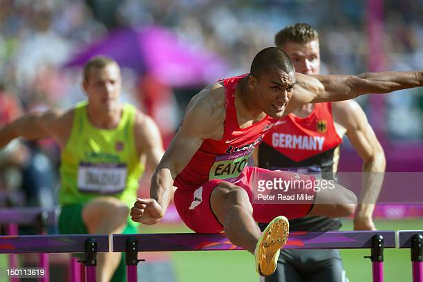 2012 Summer Olympics USA Ashton Eaton and Germany Rico Freimuth in action during 110M Hurdles of Decathlon at Olympic Stadium London United Kingdom...