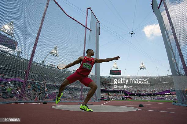 Summer Olympics: USA Ashton Eaton in action during Decathlon Discus Throw at Olympic Stadium. London, United Kingdom 8/9/2012 CREDIT: Simon Bruty