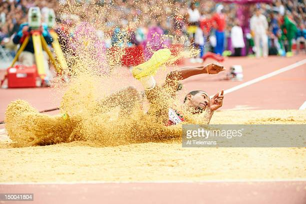 Summer Olympics: USA Christian Taylor in action during Men's Triple Jump Qualification at Olympic Stadium. London, United Kingdom 8/7/2012 CREDIT: Al...