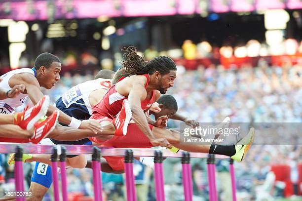 2012 Summer Olympics USA Jason Richardson in action during Men's 110M Hurdles Final at Olympic Stadium Merritt won gold London United Kingdom...