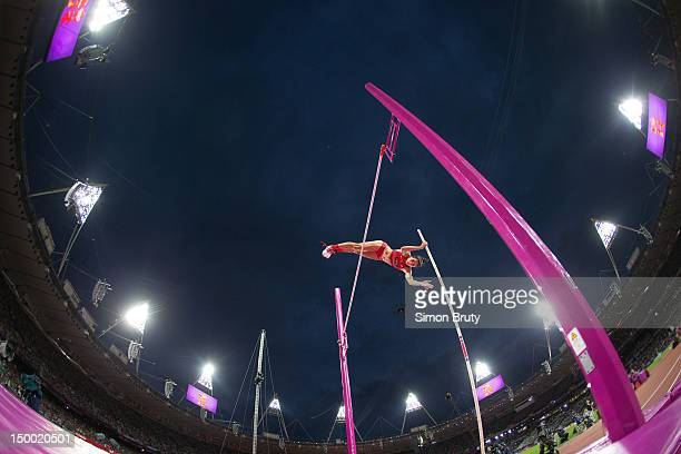 2012 Summer Olympics USA Jennifer Suhr in action during Women's Pole Vault Final at Olympic Stadium Suhr won gold Photo taken by camera planted into...