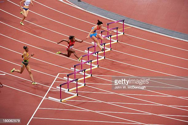2012 Summer Olympics USA Lashinda Demus and Russia Natalya Antyukh in action during Women's 400M Hurdles Final at Olympic Stadium Demus won silver...
