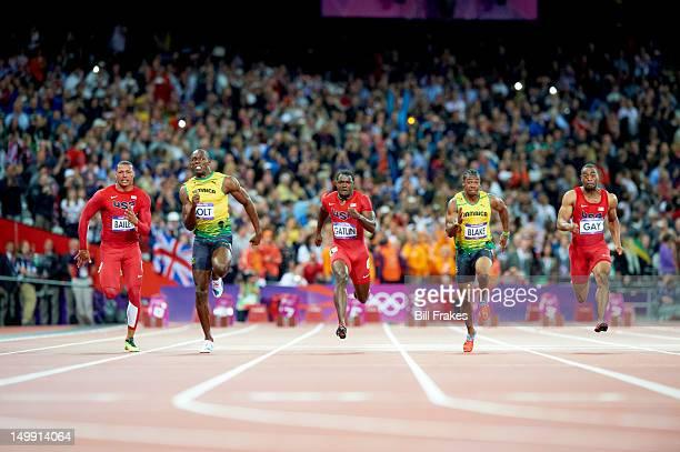 2012 Summer Olympics USA Ryan Bailey Jamaica Usain Bolt USA Justin Gatlin Jamaica Yohan Blake and USA Tyson Gay in action during Men's 100M Final at...