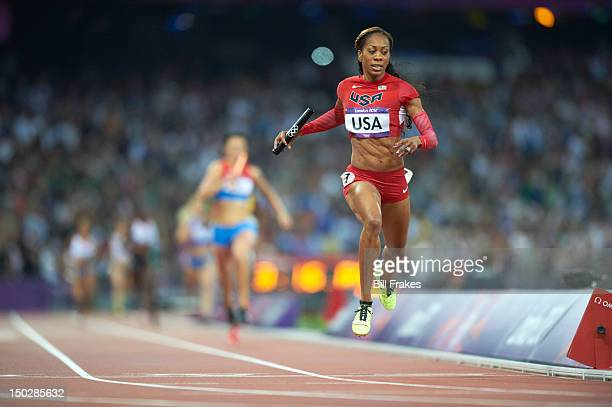 2012 Summer Olympics USA Sanya RichardsRoss in action during Women's 4X400M Relay Final at Olympic Stadium USA wins gold London United Kingdom...